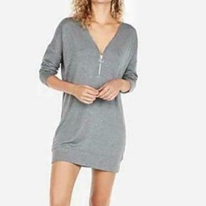 EXPRESS - Grey sweater dress with front zipper.